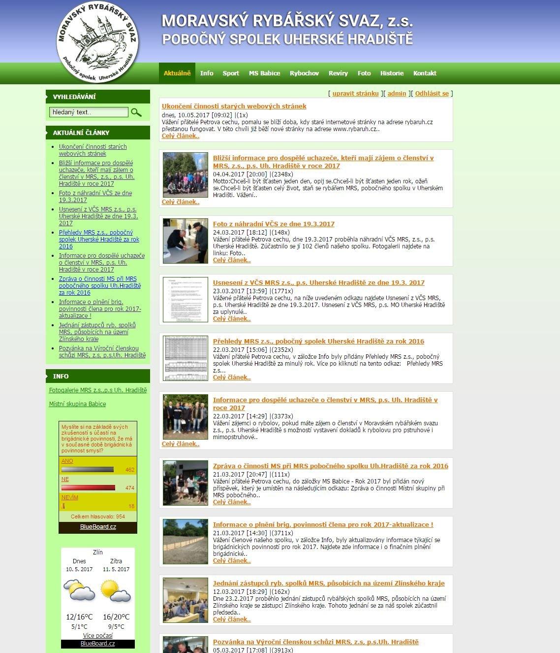 Ukončení činnosti starých webových stránek